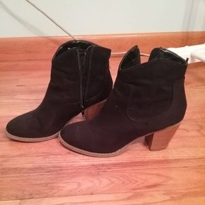 Black suede zip ankle bootie.  10